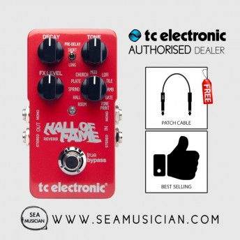 TC ELECTRONIC HALL OF FAME REVERB EFFECT PEDAL FREE 2 PATCH CABLE (T33-960660001)