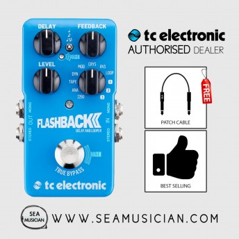 TC ELECTRONIC FLASHBACK DELAY EFFECT PEDAL FREE 2 PATCH CABLE (T33-960670001)