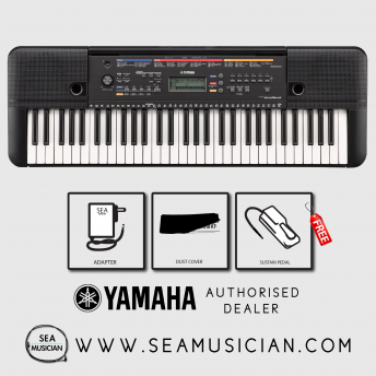 YAMAHA PSRE263 61-KEYS PORTABLE KEYBOARD WITH FREE SUSTAIN PEDAL & DUST COVER