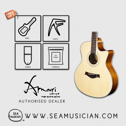 AMARI EAG40ACE ACOUSTIC GUITAR WITH EQ - FREE BAG, CAPO, STRAP & STRINGS