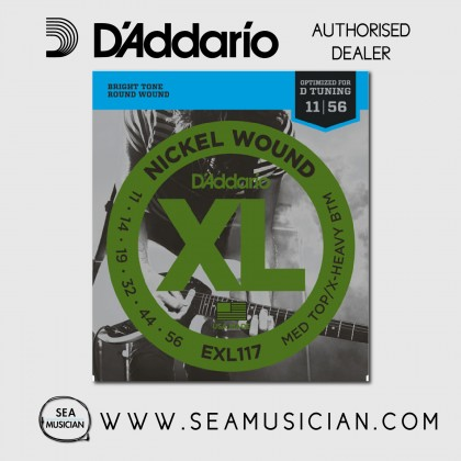 D'ADDARIO EXL117 MEDIUM TOP/HEAVY BOTTOM ELECTRIC GUITAR STRING 11-56