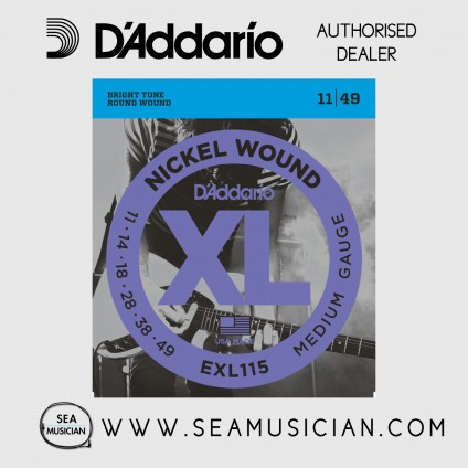D'ADDARIO EXL115 MEDIUM/BLUE JAZZ-ROCK ELECTRIC GUITAR STRINGS 11-49
