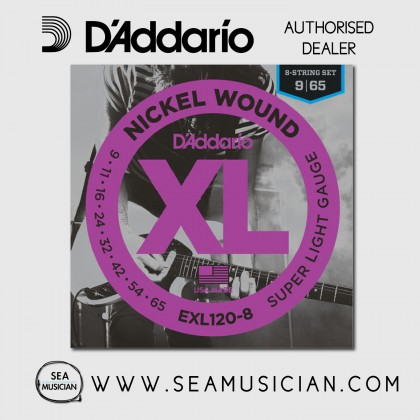D'ADDARIO EXL120-8 8-STRING SUPER LIGHT ELECTRIC GUITAR STRING 9-42