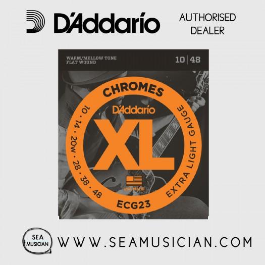 D'ADDARIO ECG23 EXTRA LIGHT CHROMES FLAT WOUND ELECTRIC GUITAR STRINGS 10-48