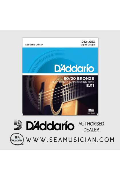 D'ADDARIO EJ11 80/20 BRONZE ACOUSTIC GUITAR STRING LIGHT 12-53