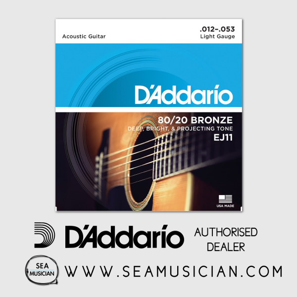 D'ADDARIO EJ11 80/20 BRONZE ACOUSTIC GUITAR STRING LIGHT 12-53