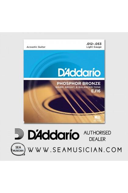 D'ADDARIO EJ16 PHOSPHOR BRONZE ACOUSTIC GUITAR STRINGS LIGHT 12-53