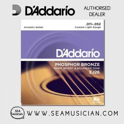 D'ADDARIO EJ26 PHOSPHOR BRONZE ACOUSTIC GUITAR STRINGS C.LIGHT 11-52
