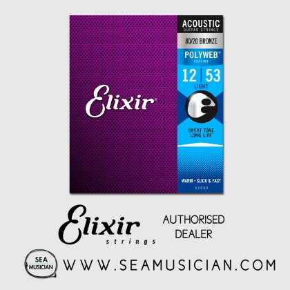 ELIXIR 11050 POLYWEB 80/20 BRONZE ACOUSTIC GUITAR STRING 12-53 LIGHT