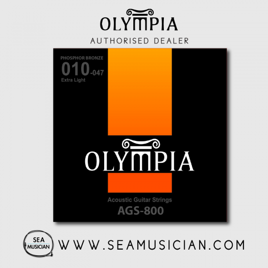 OLYMPIA AGS800 PHOSPHOR BRONZE ACOUSTIC GUITAR STRING 10-47 EXTRA LIGHT