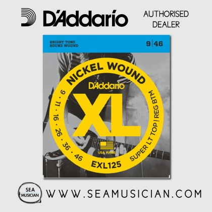 D'ADDARIO EXL125 SUPER LIGHT TOP/REGULAR BOTTOM ELECTRIC GUITAR STRING 9-46