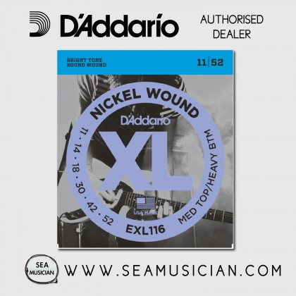 D'ADDARIO EXL116 MEDIUM TOP/HEAVY BOTTOM ELECTRIC GUITAR STRING 11-52