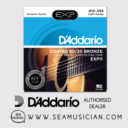 D'ADDARIO EXP11 COATED 80/20 BRONZE ACOUSTIC GUITAR STRING 12-53 LIGHT