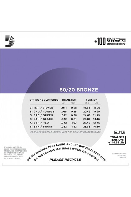 D'ADDARIO EJ13 80/02 BRONZE ACOUSTIC GUITAR STRING 11-52 CUSTOM LIGHT