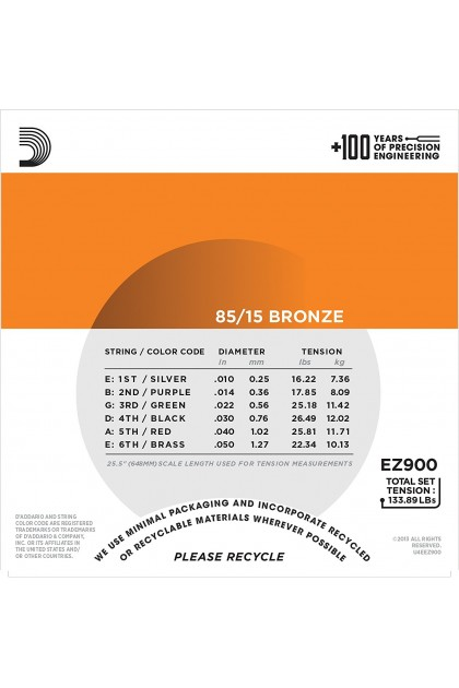 D'ADDARIO EZ900 85/15 BRONZE ACOUSTIC GUITAR STRING 10-50 EXTRA LIGHT