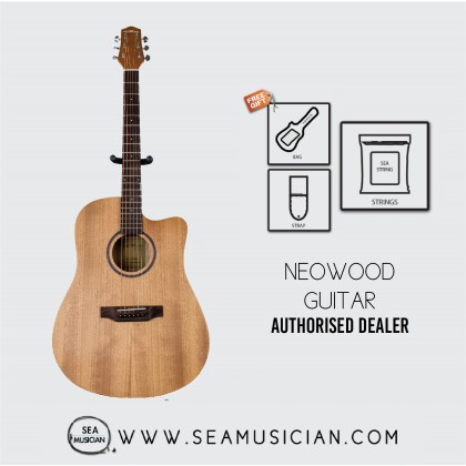 NEOWOOD ED40C ACOUSTIC GUITAR WITH FREE BAG, STRAP & STRING - WALNUT
