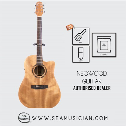 NEOWOOD ED40CEQ ACOUSTIC GUITAR WITH FREE BAG, STRAP & STRING - WALNUT