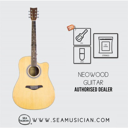 NEOWOOD F310C ACOUSTIC GUITAR WITH FREE BAG, STRAP & STRING - NATURAL