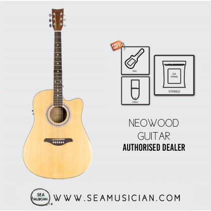 NEOWOOD F310CE ACOUSTIC GUITAR WITH FREE BAG, STRAP & STRING - NATURAL