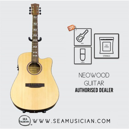 NEOWOOD WD68CE ACOUSTIC GUITAR WITH FREE BAG, STRAP & STRING - NATURAL