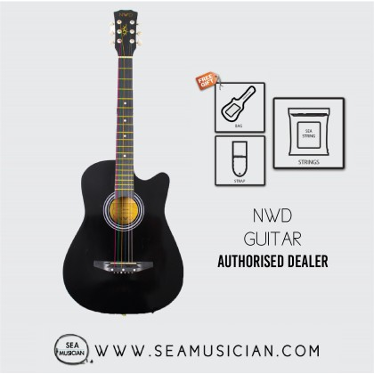 NWD BY NEOWOOD 38IN ACOUSTIC GUITAR WITH FREE BAG, PICK & STRAP - BK GUITAR FOR BEGINNERS