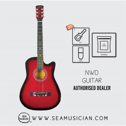 NWD BY NEOWOOD 38IN ACOUSTIC GUITAR WITH FREE BAG, PICK & STRAP - RED GUITAR FOR BEGINNERS