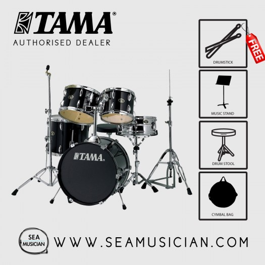 TAMA STAGESTAR 5-PCS DRUMSET BLACK SG52KH6BK WITHOUT CYMBALS