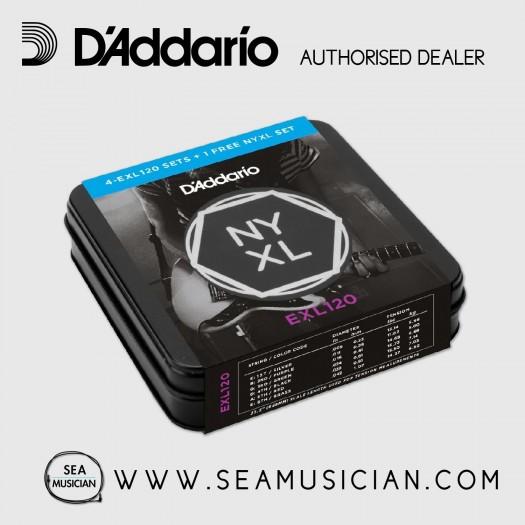 D'ADDARIO EXL120-TIN 4-PACK W/ 1 FREE NYXL SET ELECTRIC GUITAR STRINGS 9-42