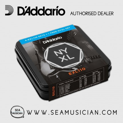 D'ADDARIO EXL110-TIN 4-PACK WITH 1 FREE NYXL SET ELECTRIC GUITAR STRINGS 10-46