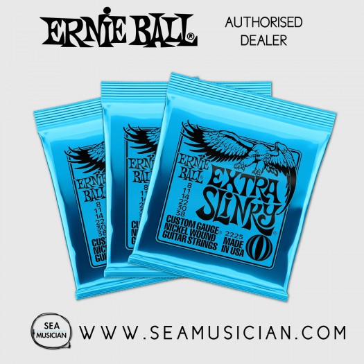 ERNIE BALL EB2225 EXTRA SLINKY ELECTRIC GUITAR STRING 08-38 - 3 SETS