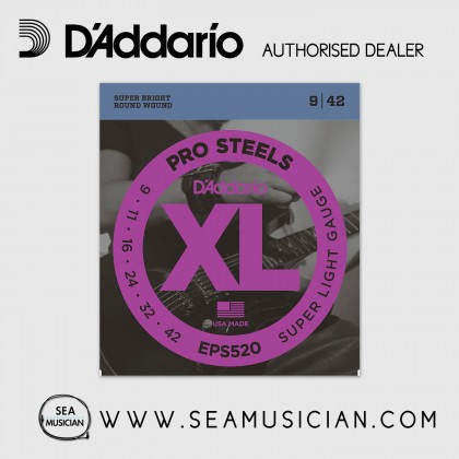 D'ADDARIO EPS520 PROSTEELS ELECTRIC GUITAR STRINGS 9-42 SUPER LIGHT