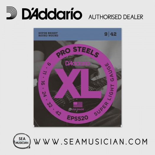 D'ADDARIO EPS520 PROSTEELS ELECTRIC GUITAR STRINGS 9-42 SUPER LIGHT