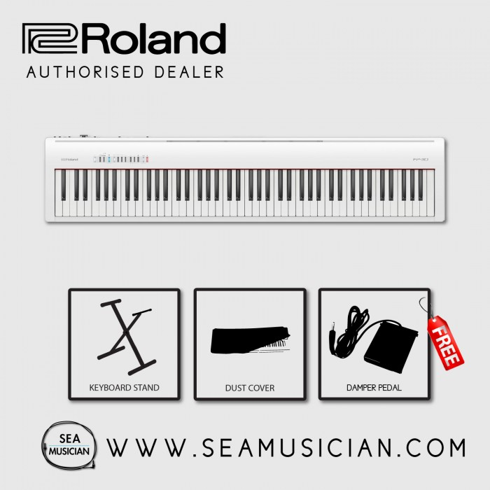 roland fp30 digital piano free dust cover damper pedal keyboard stand white. Black Bedroom Furniture Sets. Home Design Ideas
