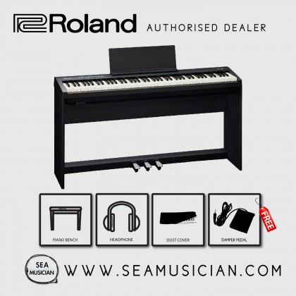 ROLAND FP30 DIGITAL PIANO WITH STAND & TRIPLE PEDAL - BLACK (WITH FREEBIES)