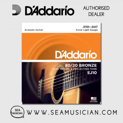 D'ADDARIO EJ10 80/20 BRONZE ACOUSTIC GUITAR STRING 10-47 EXTRA LIGHT
