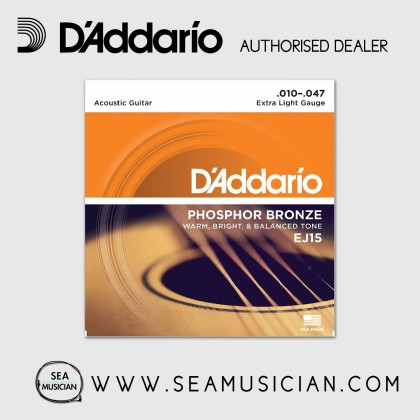 D'ADDARIO EJ15 PHOSPHOR BRONZE ACOUSTIC GUITAR STRING 10-47 LIGHT