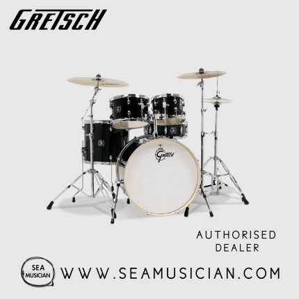 GRETSCH GE4E825B ENERGY 5-PIECE DRUMKIT W/HARDWARE, NO CYMBALS - BLACK