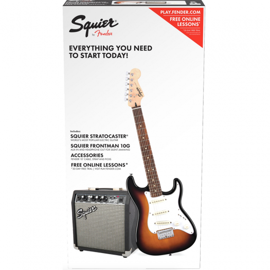 SQUIER AFFINITY SERIES SSS SHORT-SCALE STRATOCASTER GUITAR PACK WITH FRONTMAN 10G AMP