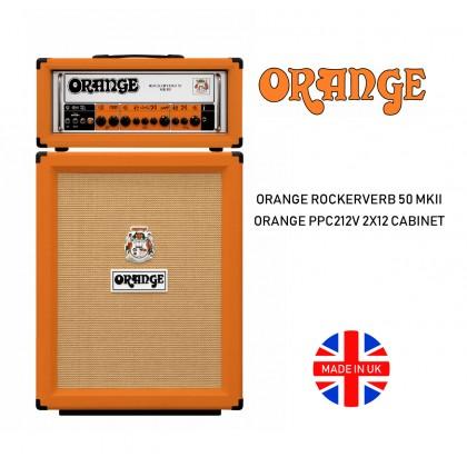 ORANGE ROCKERVERB 50 MKIII V2 50WATT 2 CHANNEL ALL TUBE HEAD MADE IN UK AND ORANGE PPC212V 2x12INCH GUITAR CABINET MADE IN UK (PPC-212V, PPC 212V)
