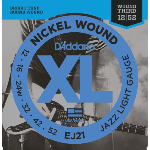 D'ADDARIO EJ21 NICKEL WOUND ELECTRIC GUITAR STRINGS, JAZZ LIGHT, 12-52(EJ-21, EJ 21)