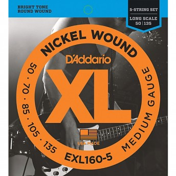 D'ADDARIO EXL160-5 NICKEL WOUND 5-STRING BASS, MEDIUM 50-135 ( EXL160-5 / EXL 160-5 )