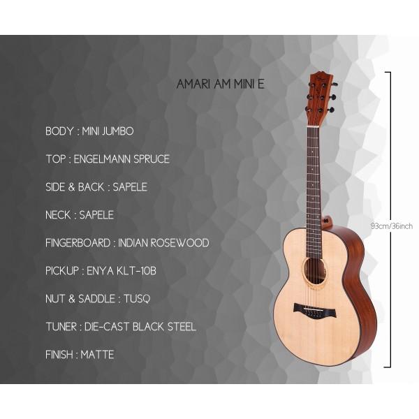 AMARI AM-MINI ACOUSTIC GUITAR - FREE BAG, CAPO, STRAP