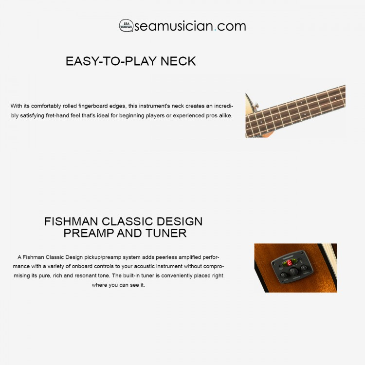 FENDER CB-60SCE ACOUSTIC BASS GUITAR WITH CUTAWAY & PICKUP , LAUREL FRETBOARD NATURAL (FEN-F03-097-0183-021)