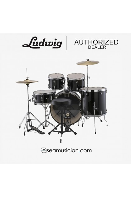 LUDWIG LC17511DIR ACCENT DRIVE 5-PIECE DRUMS SET W/HARDWARE,THRONE,CYMBAL BLACK (LUD-L14-LC17511DIR)