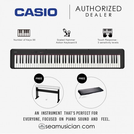 CASIO CDP-S100 88-KEY DIGITAL PIANO BLACK WITH STAND AND PIANO DUST COVER (CDP-S100 BK)