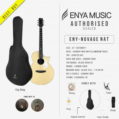 ENYA NOVA G SERIES NATURAL ACOUSTIC GUITAR PACK WITH EQ,BAG, CAPO, STRING, STRAP (ENY-NOVAGE NAT-P)