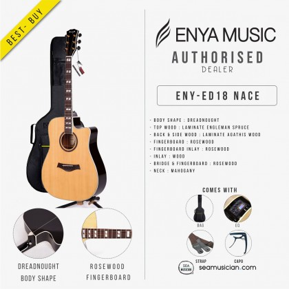 ENYA ED18NACE NATURAL DREADNOUGHT 41IN ACOUSTIC GUITAR WITH EQ & ACCESSORIES (ENY-ED18NACE)