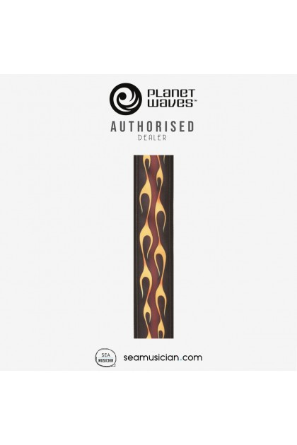 PLANET WAVES 50F09 HOT ROD RED FLAME PATTERN  50MM GUITAR STRAP (SEAMUSICIAN)