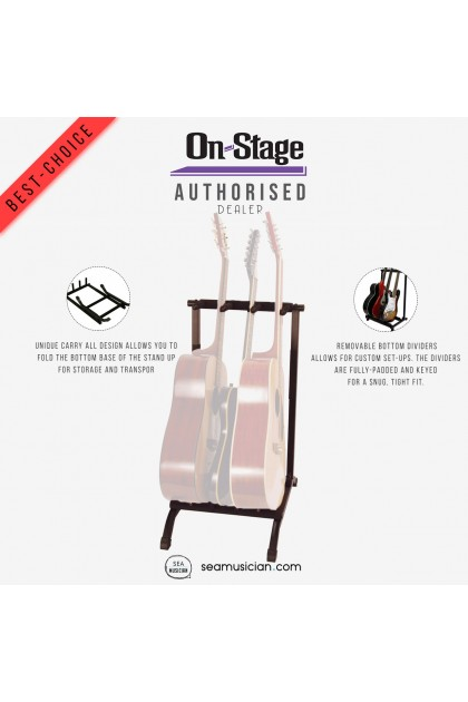 ON-STAGE GS7361 3-SPACE FOLDABLE MULTI GUITAR RACK (SEAMUSICIAN)