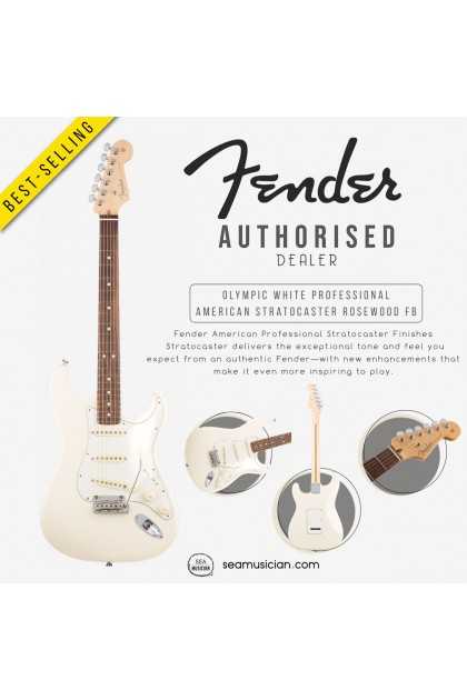 FENDER AMERICAN PERFORMER PROFESSIONAL STRATOCASTER ELECTRIC GUITAR WITH ROSEWOOD FINGERBOARD 0113010705 , OLYMPIC WHITE (SEAMUSICIAN)